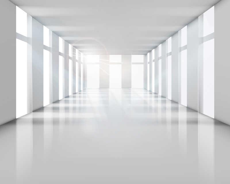 明亮的建筑内部室内矢量