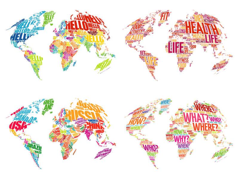 用文字单词做成的世界地图表矢量插图