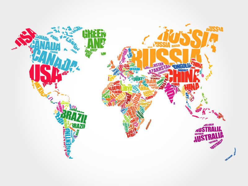 国家名词排列成地图形状的矢量插图