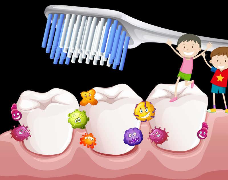 矢量用刷牙赶走细菌素材