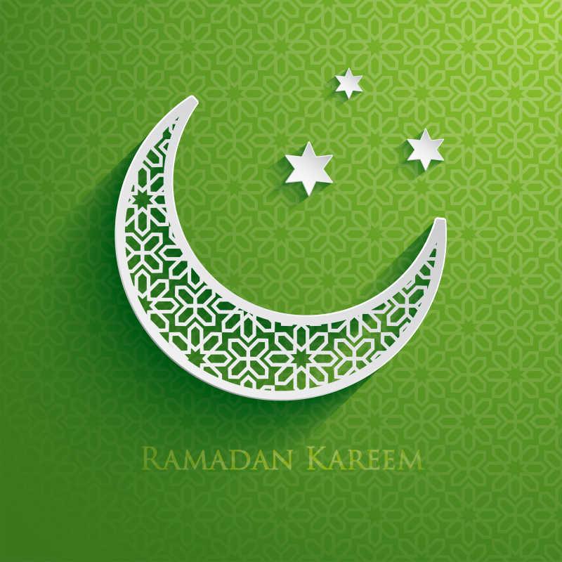 绿色背景下的星星和月亮矢量背景
