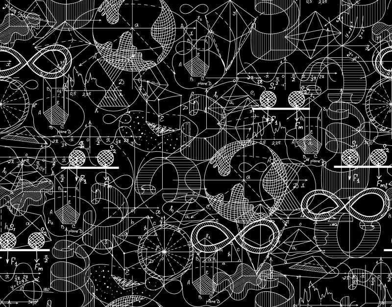 画满图形的黑板矢量背景