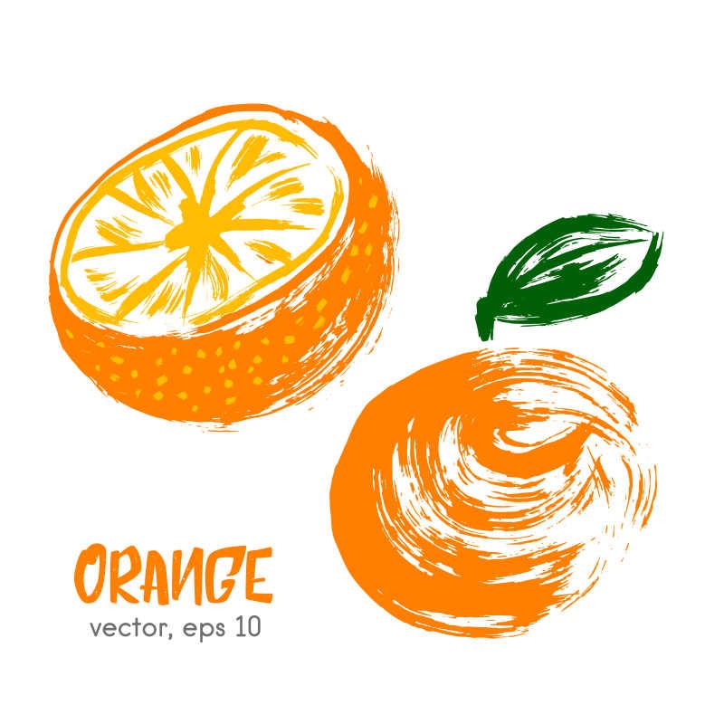 橙子矢量插画