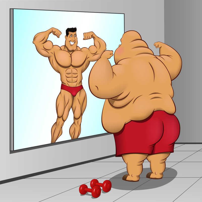 努力瘦身的胖子卡通矢量插画