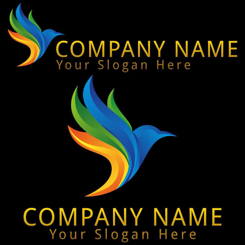 彩色蜂鸟矢量商标