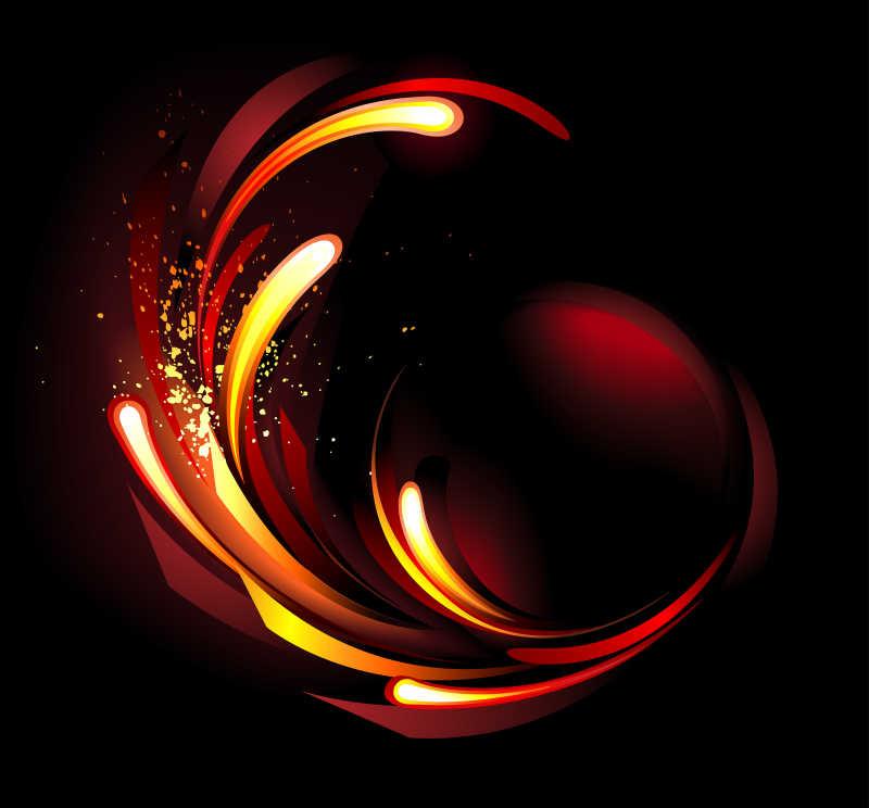 黑色背景下的火抽象矢量插画