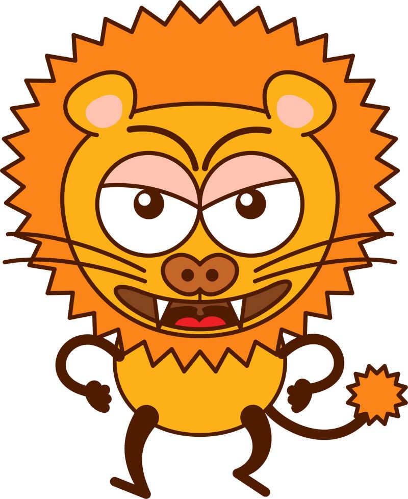 矢量的愤怒的卡通狮子素材