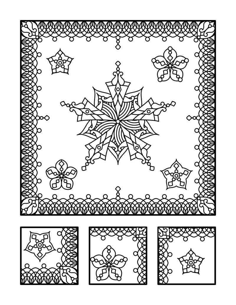矢量曼陀罗花型线条纹理图案
