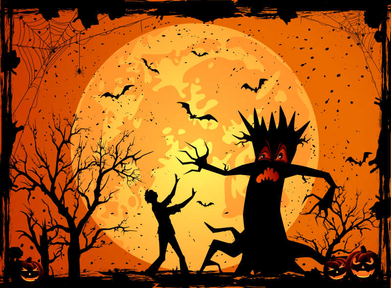 万圣节可怕的枯树矢量插画
