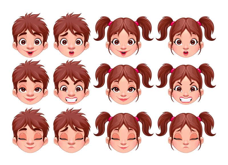 男孩和女孩的不同表情矢量插画