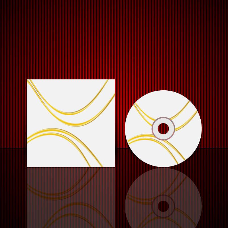 黄色线条的矢量光盘封面设计模板