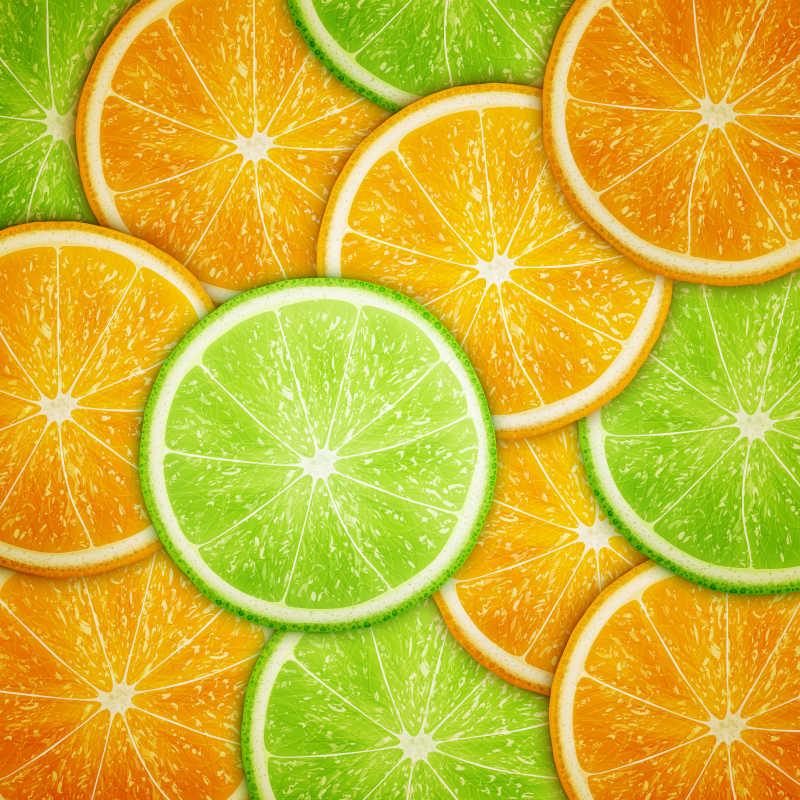 矢量的橙子和柠檬切片背景