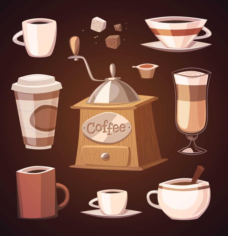 咖啡相关的元素矢量插画