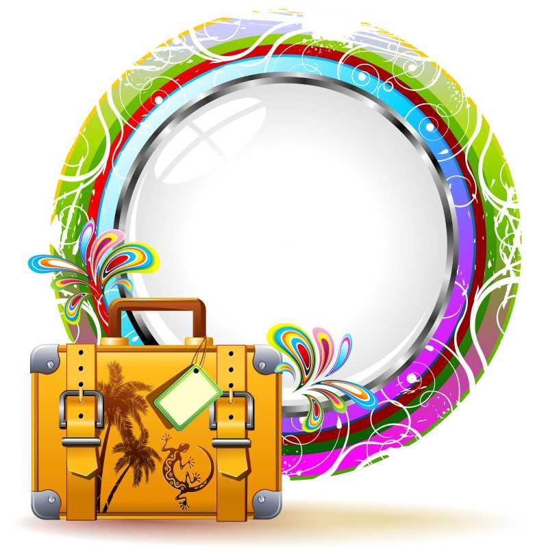 彩色背景前的旅行箱矢量图