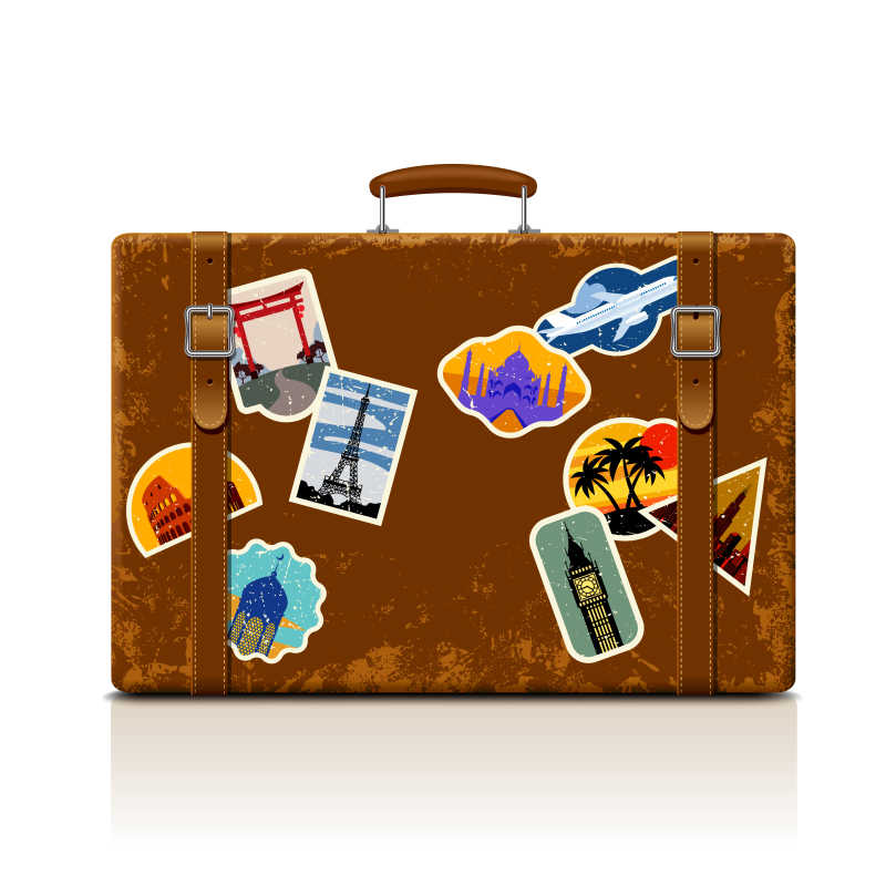 老式棕色的手提箱矢量插图