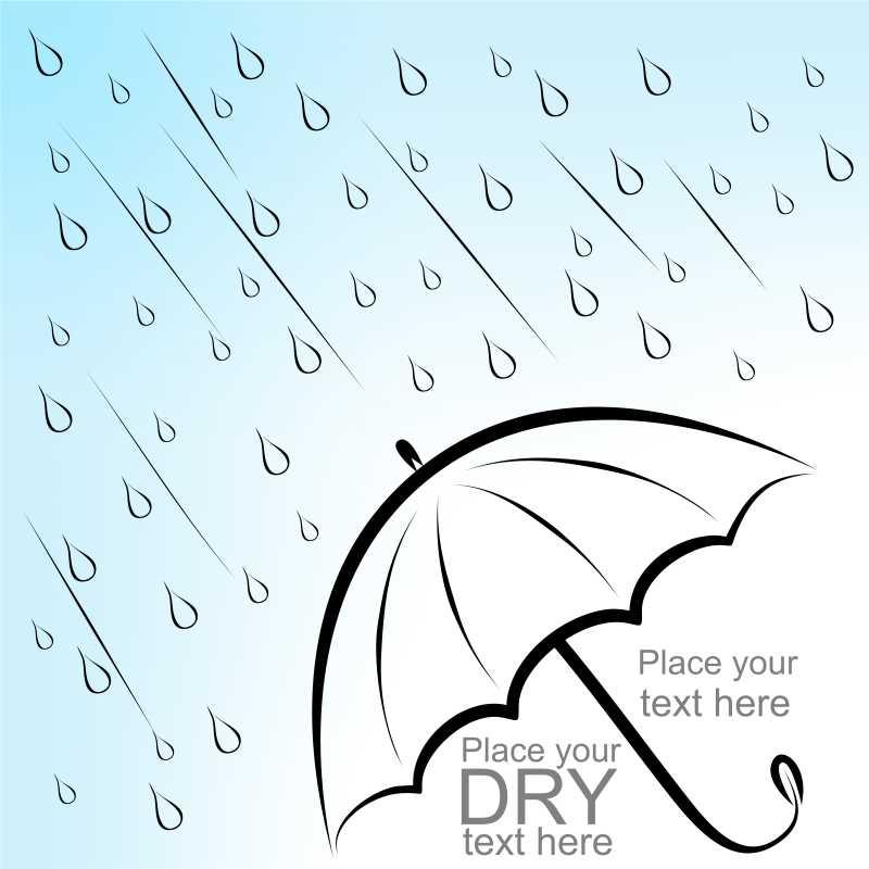 雨下伞里的文字海报矢量图
