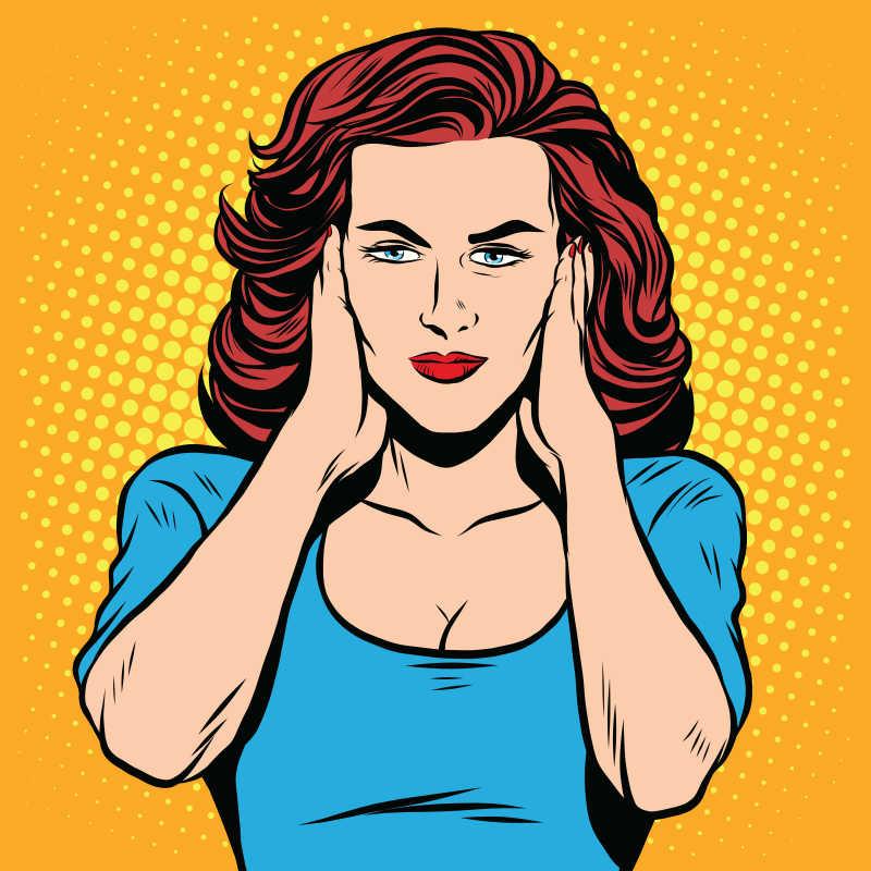 美式漫画风格女人矢量插图