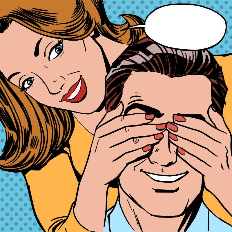 美式漫画风格的一对甜蜜情侣矢量插图