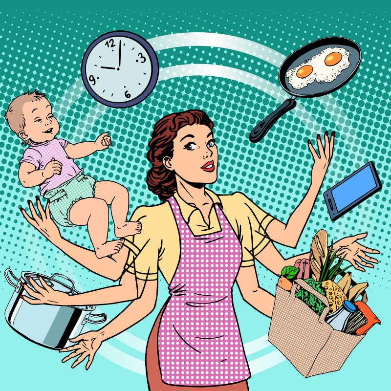 矢量繁忙的家庭主妇美式漫画
