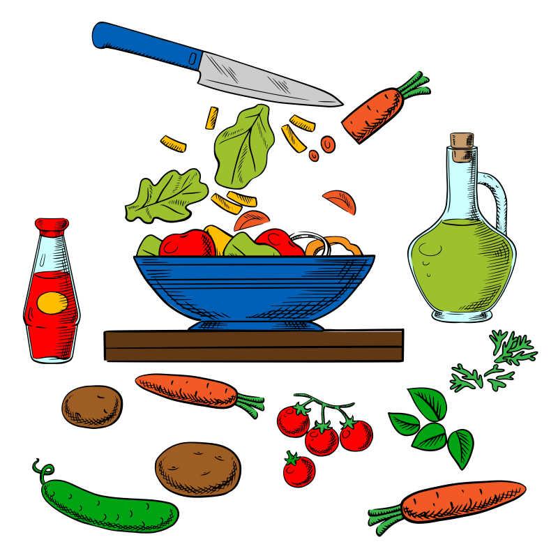 切菜过程矢量卡通插图