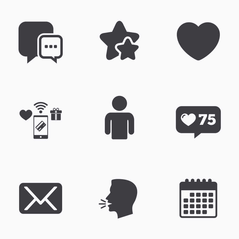 社交媒体图标矢量图