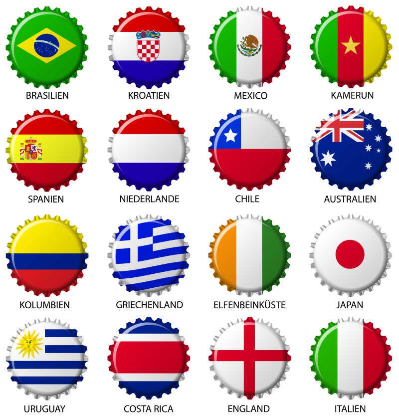 各个国家旗帜的瓶盖矢量图