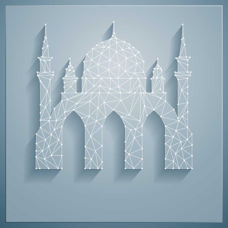 矢量的白色抽象清真寺建筑模板