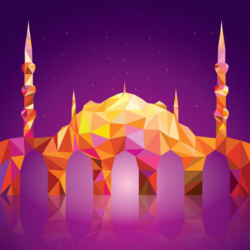 矢量几何图形拼凑的清真寺建筑