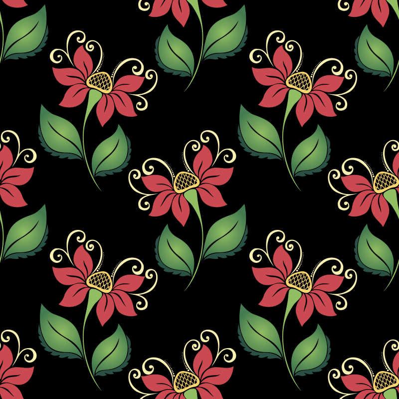 黑色背景的红色小花无缝矢量插图背景