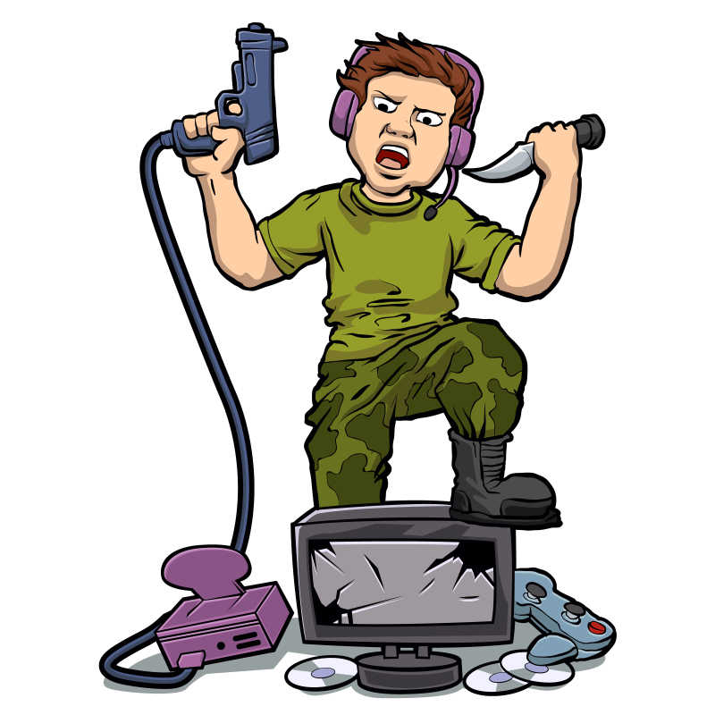 矢量玩虚拟游戏的游戏玩家平面插图