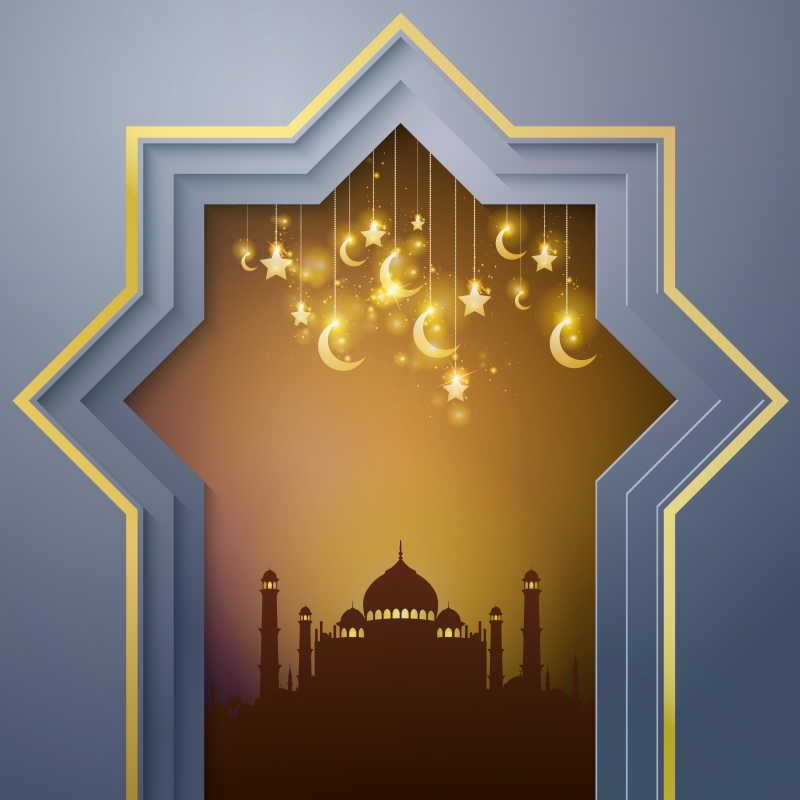窗外漂亮的清真寺剪影矢量插图