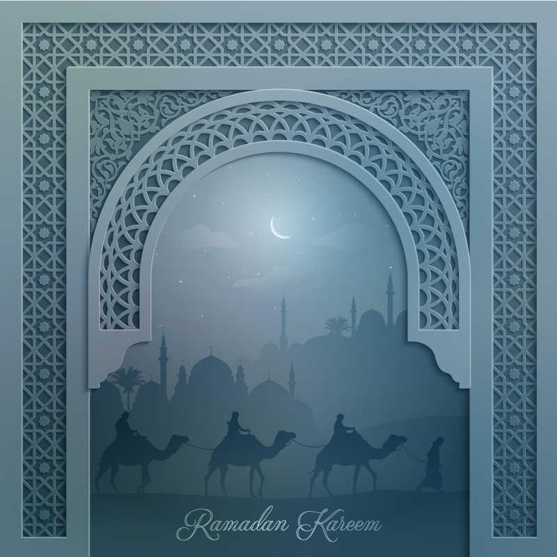 创意伊斯兰风景设计装饰模板背景
