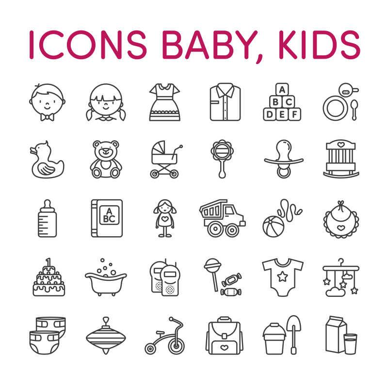矢量婴儿相关的图标设计