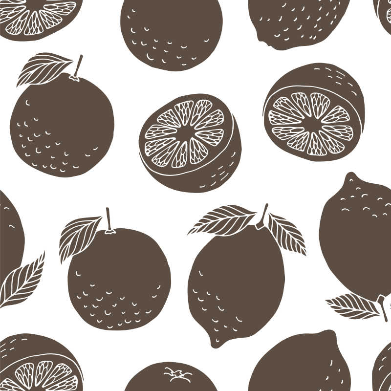 无缝矢量柠檬和柑橘图案的插图背景