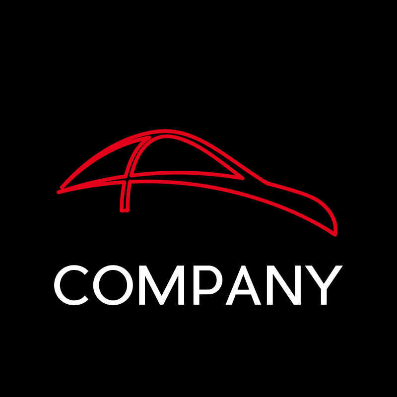 红色抽象的汽车公司商标矢量模板
