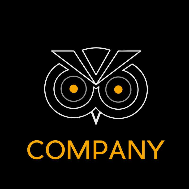 线框勾勒的猫头鹰矢量商标