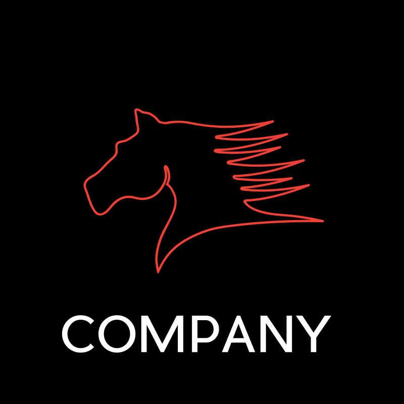 抽象的红色马头矢量商标