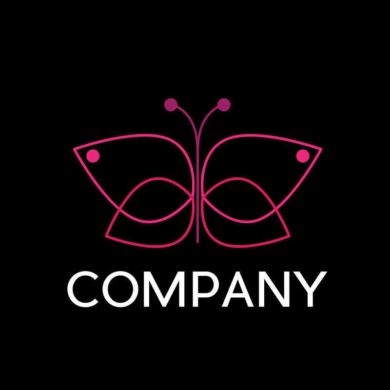 粉色的蝴蝶商标矢量模板