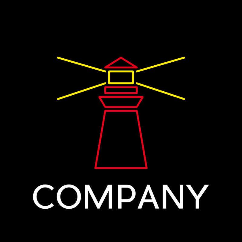 矢量灯塔形状商标设计