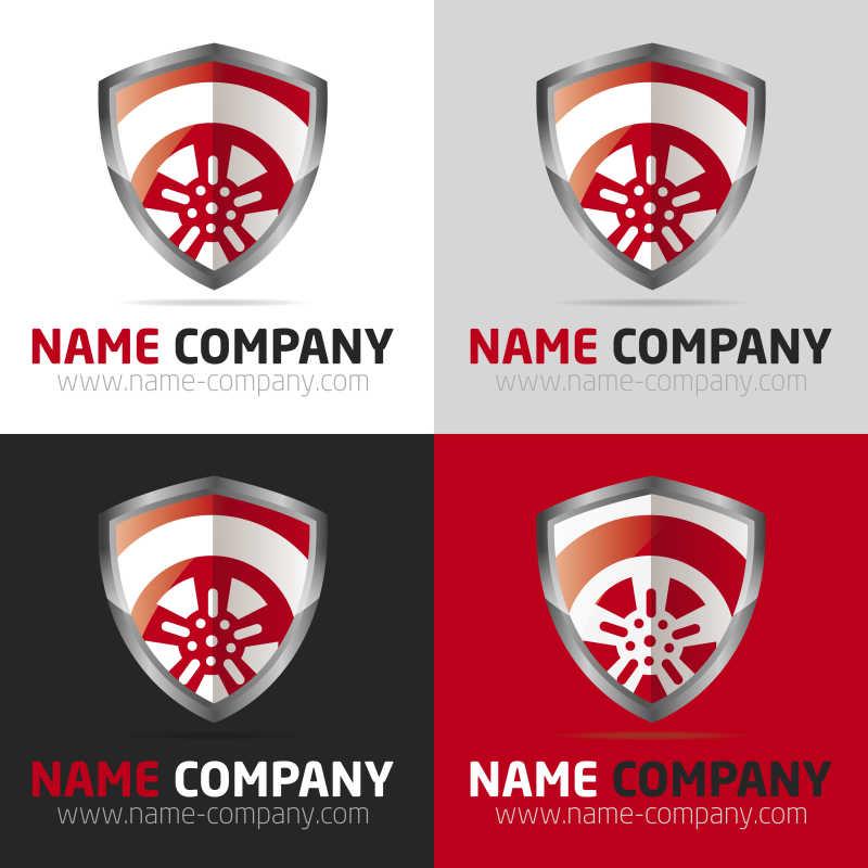 矢量的红色盾牌商标