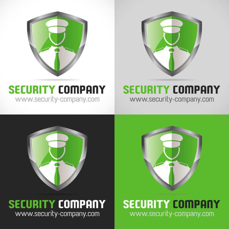 绿色的矢量盾牌形商标设计