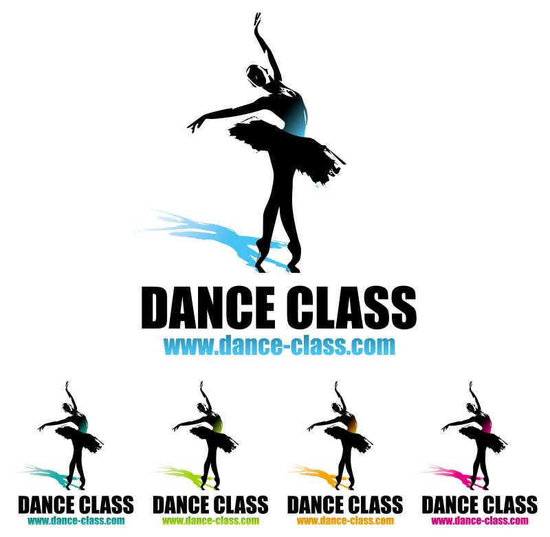 跳芭蕾的女孩矢量商标设计