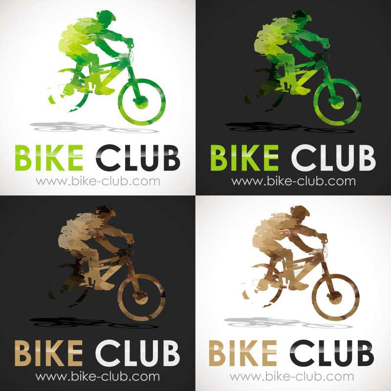 骑自行车的人矢量标志设计