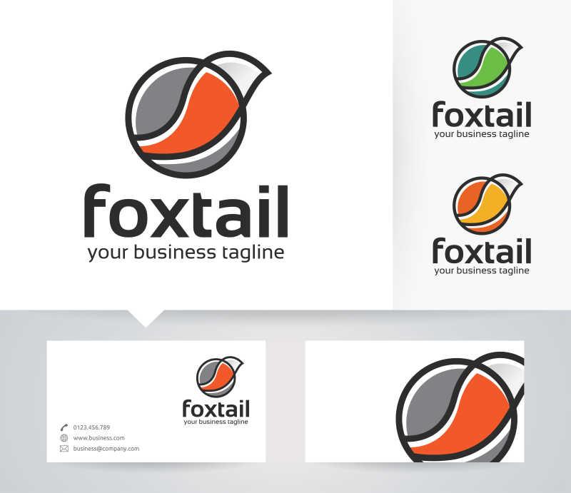 矢量的狐狸尾巴创意商标设计