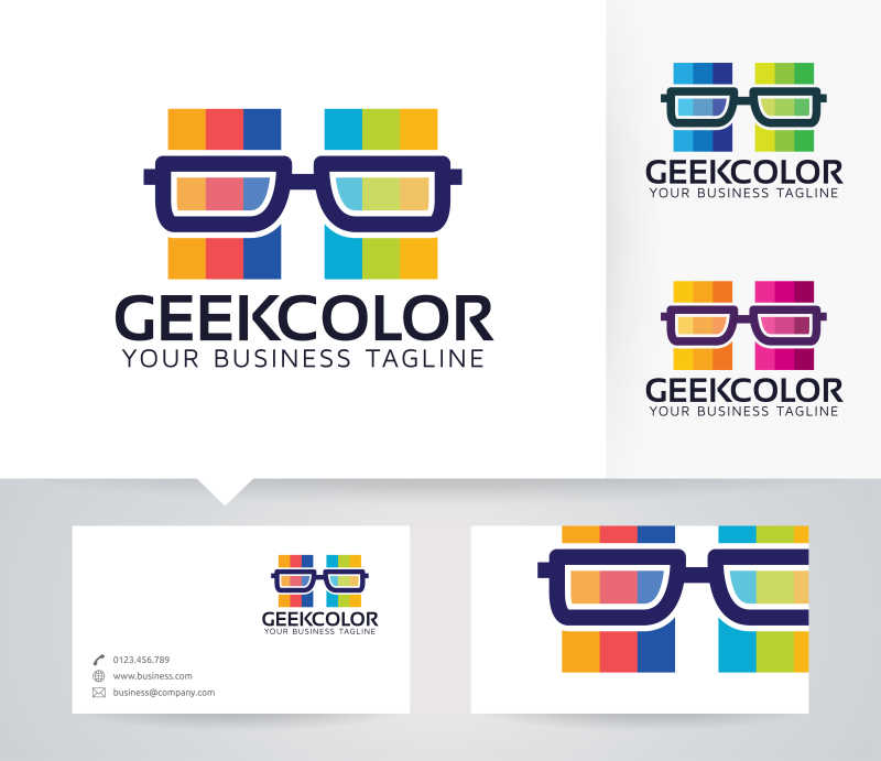 彩色背景下的矢量眼镜商标