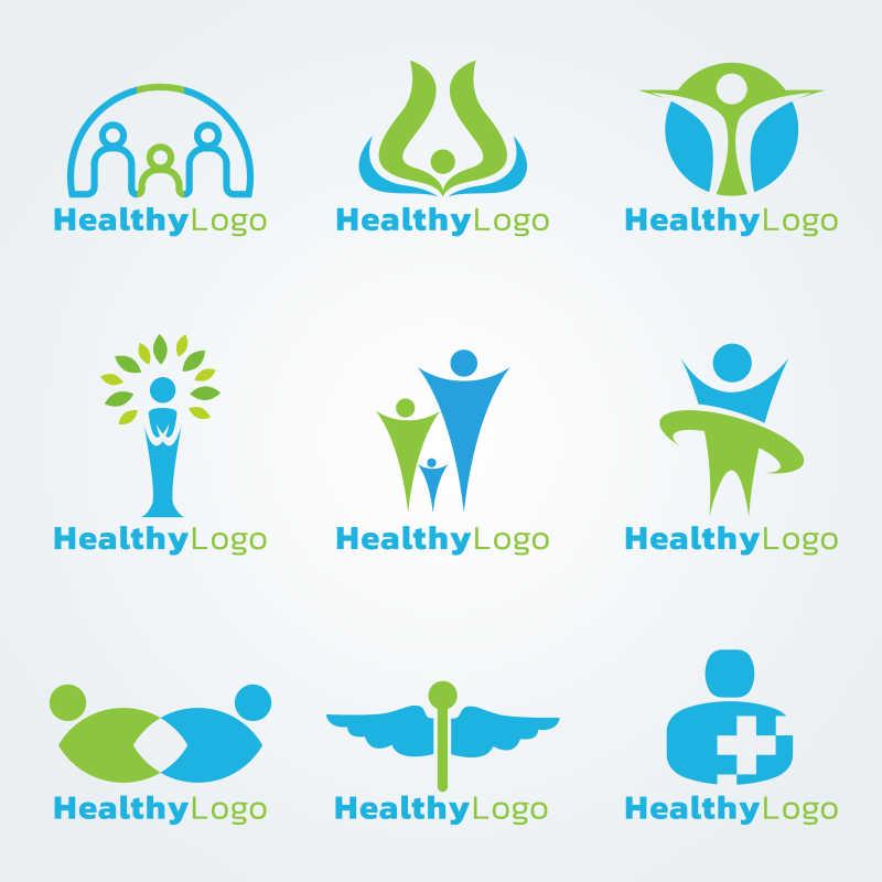 健康主题矢量商标设计