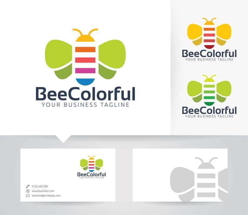 彩色的蜜蜂矢量商标设计