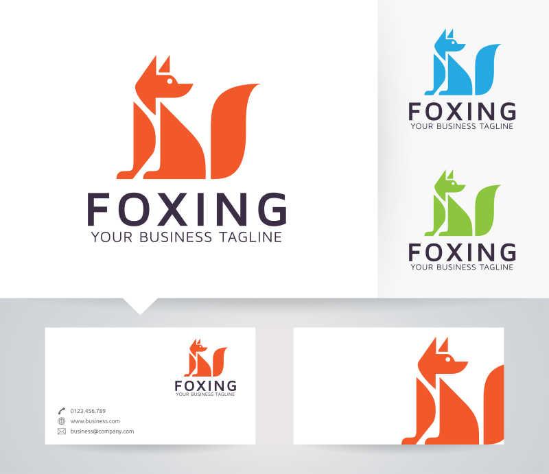 矢量的狐狸形状商标设计