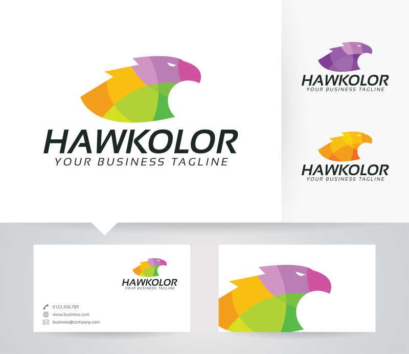 彩色的猎鹰图案商标