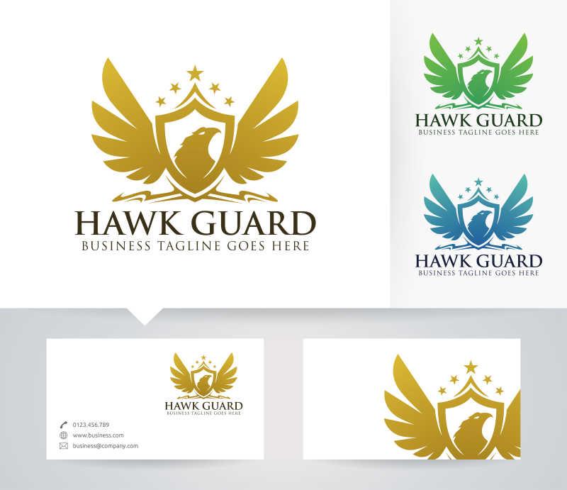 矢量的雄鹰图案盾牌商标设计